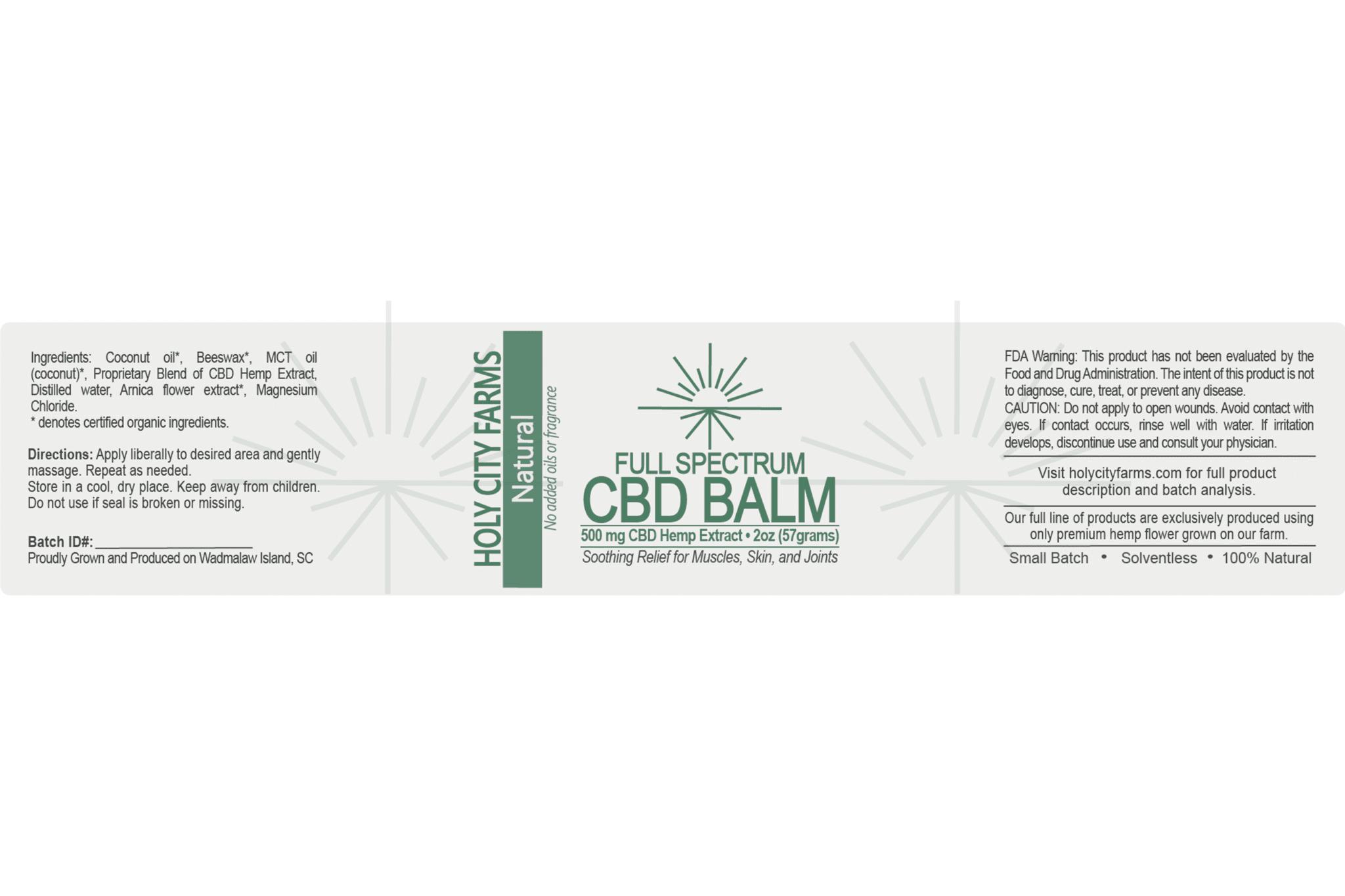 Label for Full Spectrum CBD Balm - natural