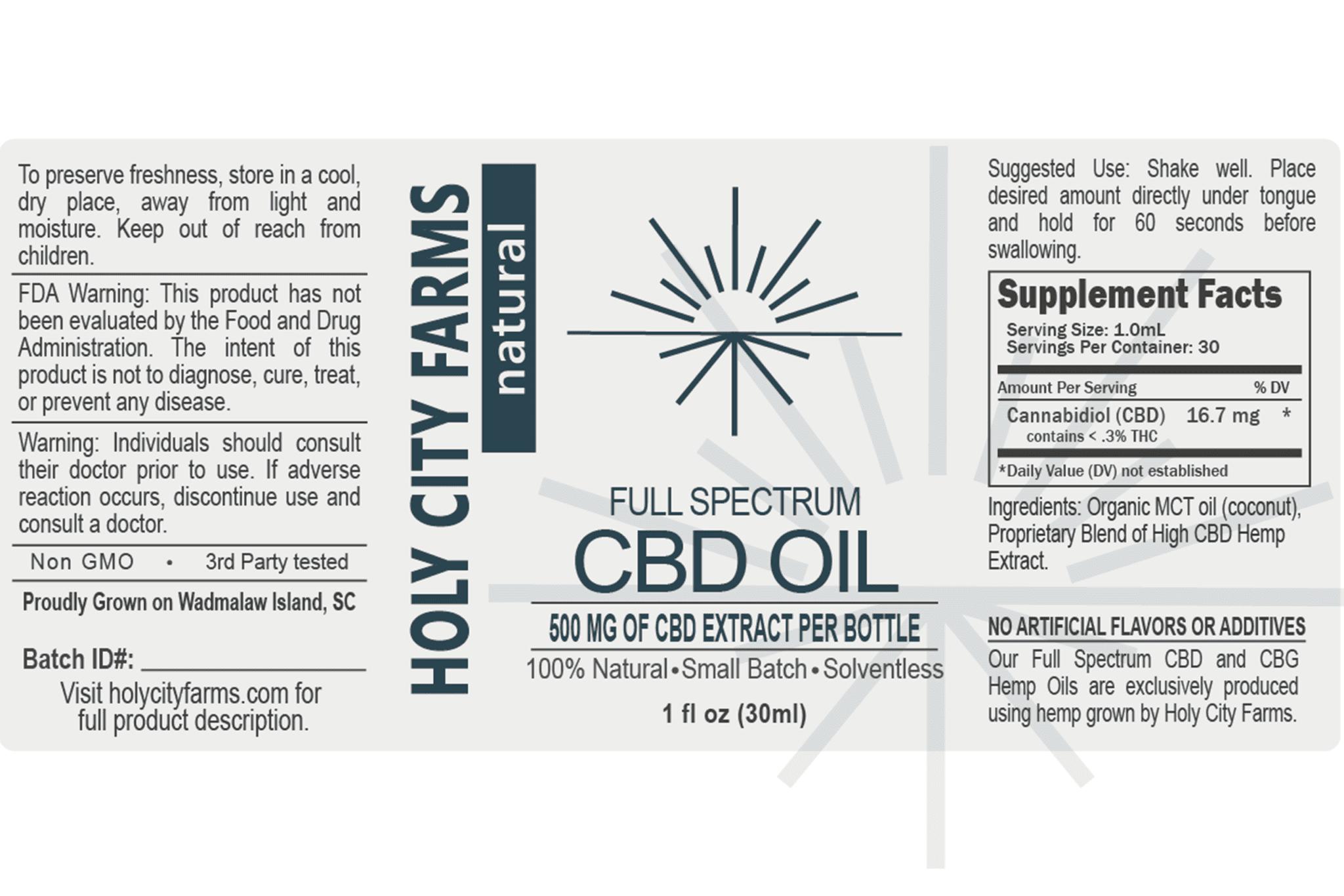 Label for Full Spectrum CBD Oil - natural