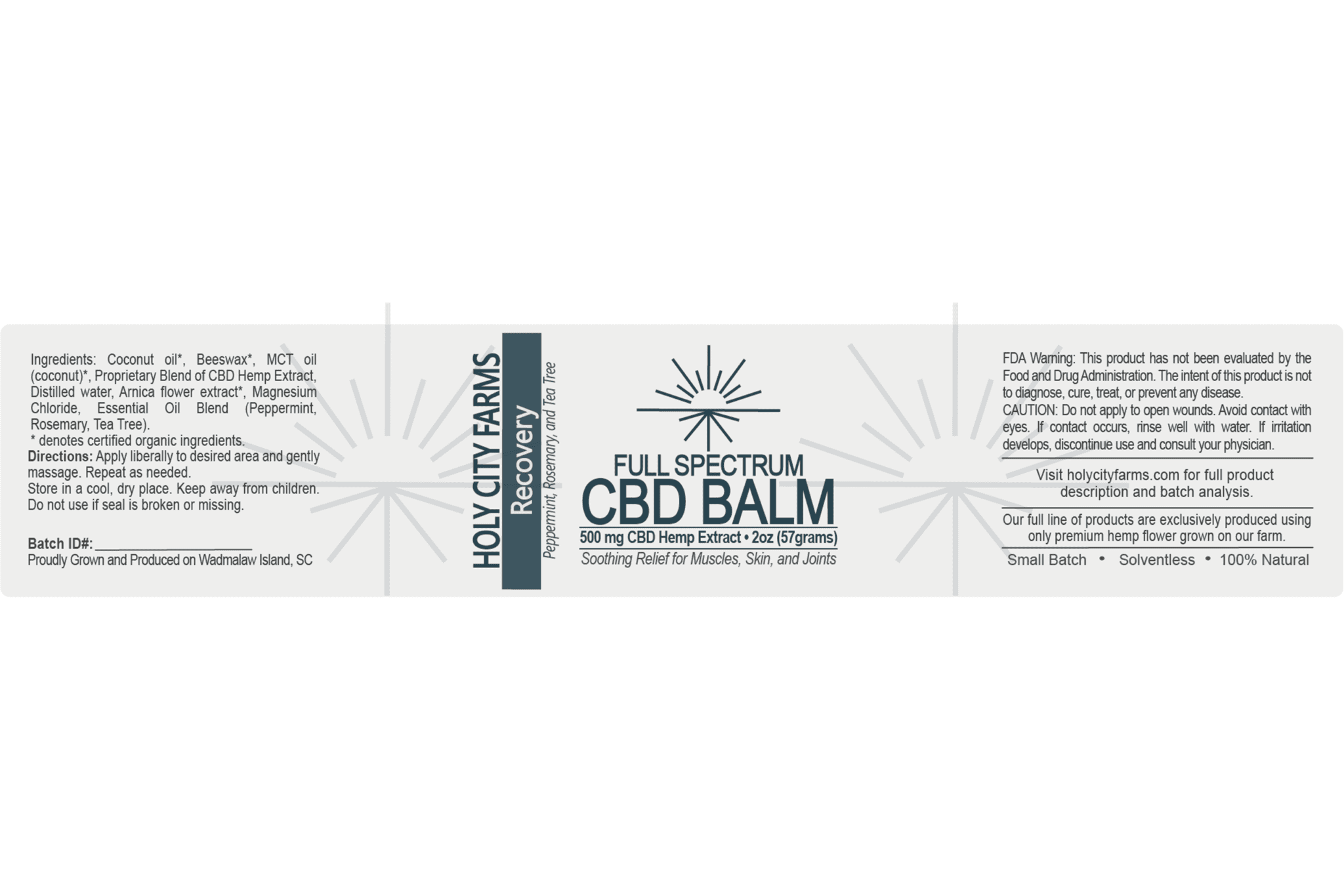 Label for Full Spectrum CBD Balm - Recovery