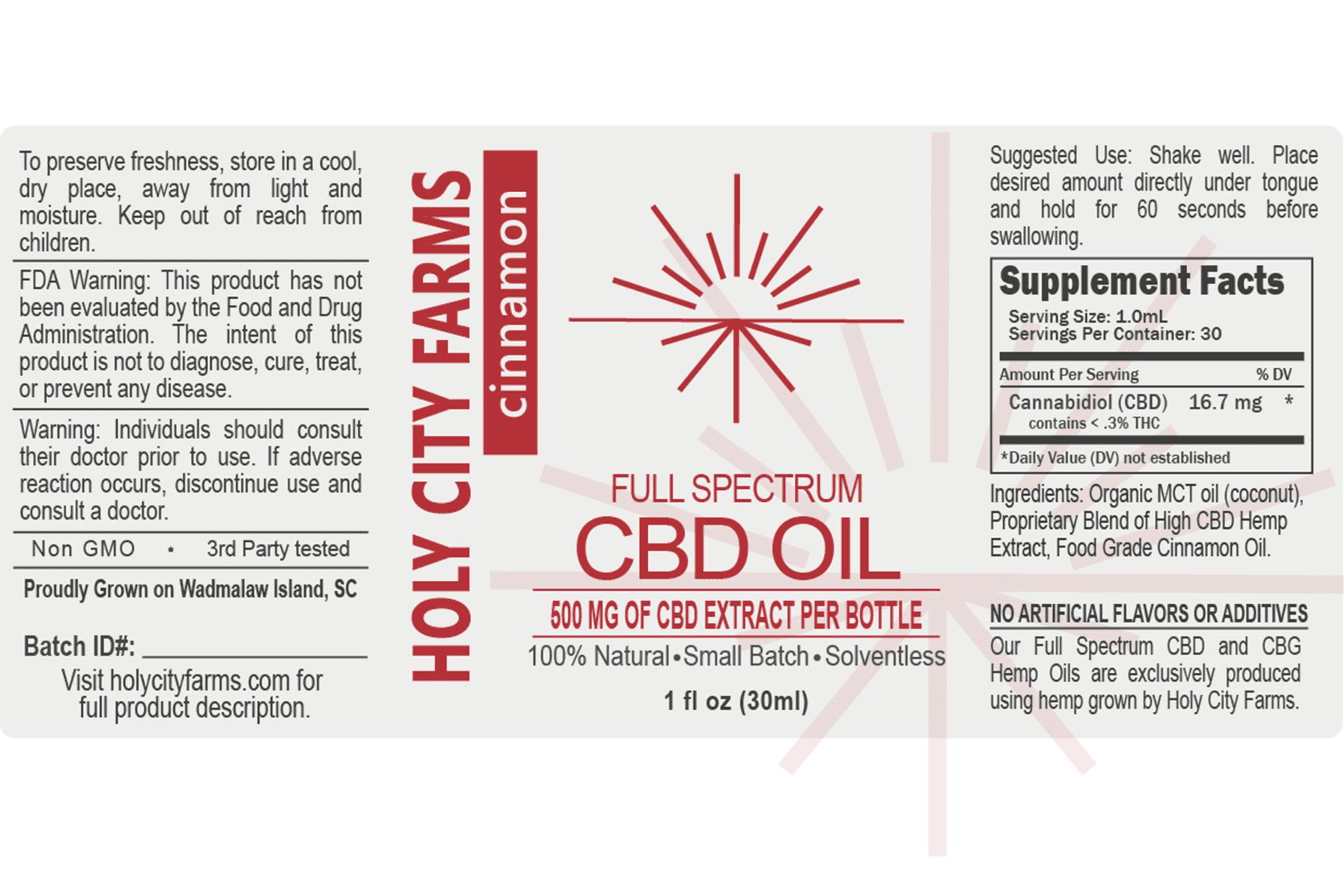 Label for Full Spectrum CBD Oil - cinnamon